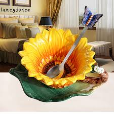 original home decor porcelain butterfly sunflower mug dish spoon ceramic mug