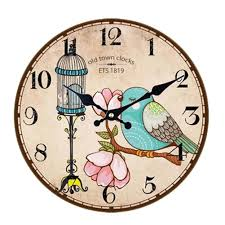 vintage country style wooden silent round wall clock decorative