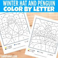 winter hat and penguin color by letter trail of colors