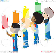painting a wall royalty free rf clipart illustration of african american and