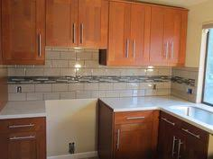 Glass Tile Kitchen Backsplash by White Subway Tile With Glass Accent Backsplash Our House