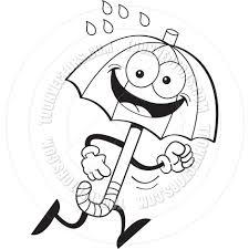 cartoon umbrella running black and white line art by kenbenner