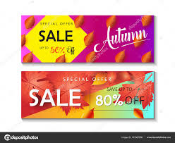 gift card discount mid season sale web banners set autumn sale discount gift card