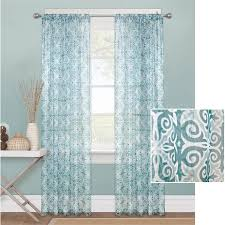 Walmart Sheer Curtain Panels Mainstays Tile Scroll Sheer Window Curtain Panel Walmart