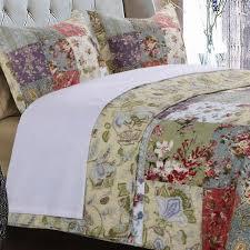 country cottage cotton floral patchwork quilt shams set luxury