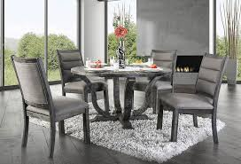 gray round dining table set distressed finish round table set