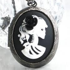 black cameo necklace images Steampunk cameo necklace locket skeleton lady black rose jpg