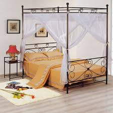 china 1 900 x 1 400mm canopy metal bed for living room with wood