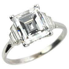 rings art images Art deco 290 carat emerald cut diamond engagement ring for sale jpg