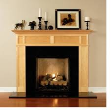 cream maple wood mantel fireplace combination with square black
