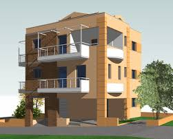 three story building architectur project three storey residential building made home