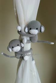 Monkey Curtains For Baby Room A Pair Of Light Gray Monkeys Curtain Tiebacks Both Side