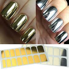metallic nail foil wraps nail foil gold silver tips wrap metallic kit adhesive sticker