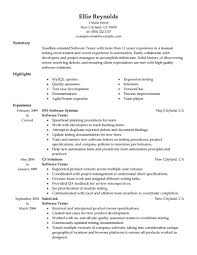 Sample Resume With One Job Experience by Best Software Testing Resume Example Livecareer