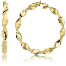 large gold hoop earrings forzieri large twisting 18k yellow gold hoop earrings polyvore