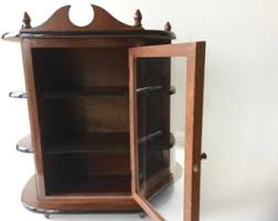 wall shelves with glass doors vintage wall cabinet etsy