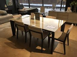 Magnolia Dining Table In Smoky Walnut With Lacquered Glass Top In - Glass top dining table ottawa