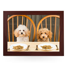 dogs at dinner table dogs at dinner table lap tray l0220 cushioned lap trays by yoosh