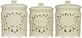 pottery canisters kitchen kitchen kitchen canister set with tea coffee sugar jars lace