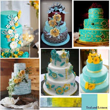 teal and lemon yellow wedding cake polyvore