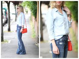 High Waist Bootcut Jeans Denim On Denim Chambray Shirt Bootcut Jeans U0026 Orange Bag