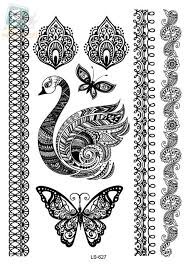 ls627 indian design black butterfly swan henna ink lace