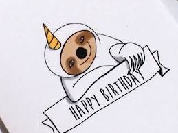Doodle Birthday Card Unicorn Sloth Birthday Card Doodle Card Made On Recycled Paper