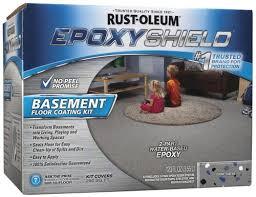 rust oleum epoxyshield gray basement floor coating kit 1 gal