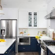 blue bottom and white top kitchen cabinets white cabinets navy blue lower cabinets design ideas