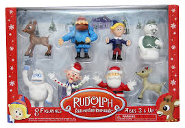 rudolph the nosed reindeer figurine set 8pc set