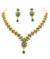 emerald necklace sets images Designer ruby emerald necklace set buy designer ruby emerald jpg