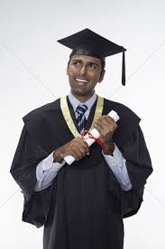 graduation robe in graduation robe holding his diploma scroll stock photo