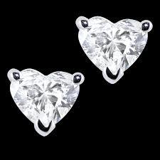heart shaped diamond earrings 18k wg 1 00 carat heart shaped diamond earrings