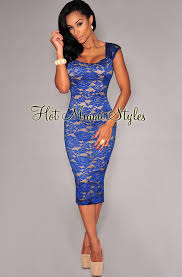 royal blue lace illusion padded midi dress