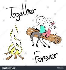 cartoon couple doodle picnic near fire stock vector 357909611