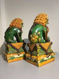 foo lions for sale pair of sancai glazed foo lions at 1stdibs