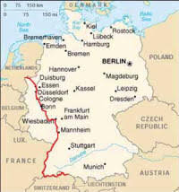 map of germany showing rivers the rhine