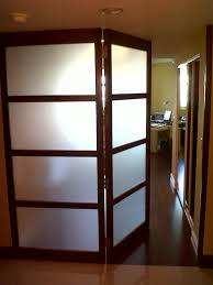 Interior Swinging Doors Frosted Glass Bi Fold Swing Door With Wooden Frames Also