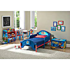 paw patrol toddler bedroom bed 2 toy bins 2 chairs table