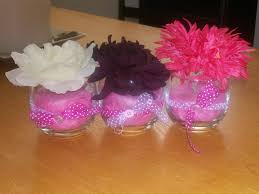 baby shower centerpieces for girl ideas pink white also maroon flowers on the glass vases combined with