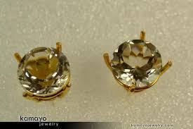 gold earrings tops gold rock earrings 10mm big clear quartz stud