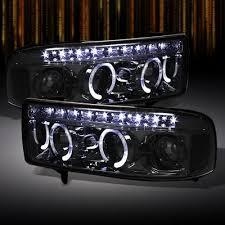 2001 dodge ram headlights dodge ram 1994 2001 smoked halo projector headlights with led drl