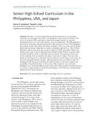 senior high curriculum in the philippines usa and japan