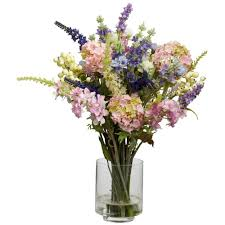 artificial flower arrangements nearly 16 in h assorted lavender and hydrangea silk