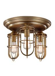 fm378dab 3 light urban renewal flushmount antique brass