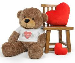 engraved teddy bears mocha 38in cuddles personalized teddy with heart print