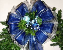 Christmas Decorations Blue Bows by Front Door Bow Etsy