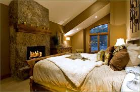 Master Bedroom With Fireplace Cabin Mountain Theme Room Inspirations Bedrooms Master Bedroom