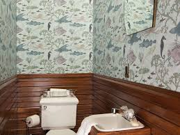 bathroom original plumbing sea life wallpaper wainscoting wall