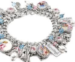 charm bracelet guardian angel charm bracelet handcrafted with vintage images in